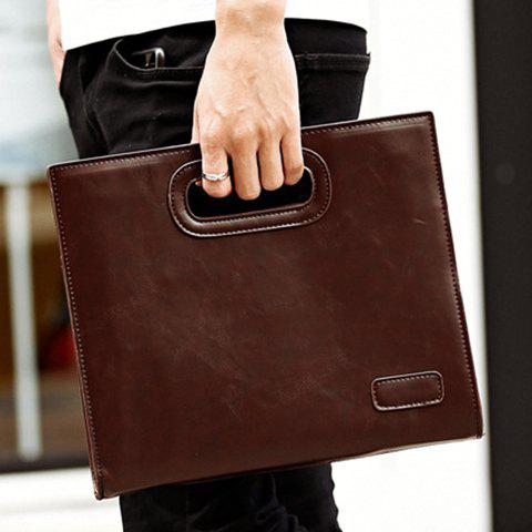 New Fashionable Solid Colour and PU Leather Design Men's Clutch Bag - COFFEE  Mobile