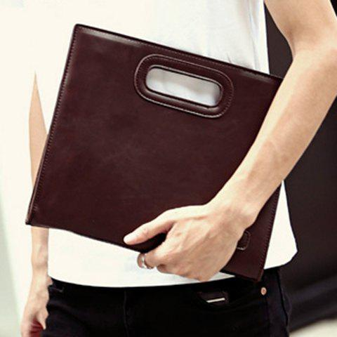 Outfits Fashionable Solid Colour and PU Leather Design Men's Clutch Bag - COFFEE  Mobile