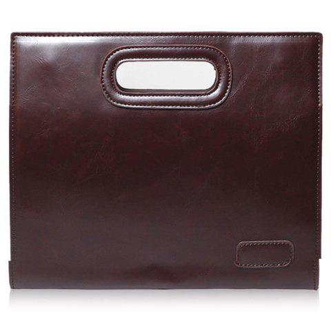 Latest Fashionable Solid Colour and PU Leather Design Men's Clutch Bag - COFFEE  Mobile