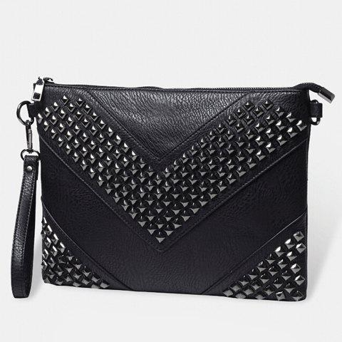 Fashion Stylish Rivets and Black Design Men's Clutch Bag - BLACK  Mobile