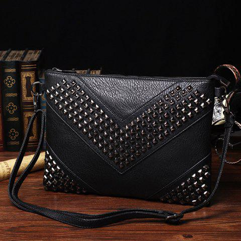 Hot Stylish Rivets and Black Design Men's Clutch Bag - BLACK  Mobile