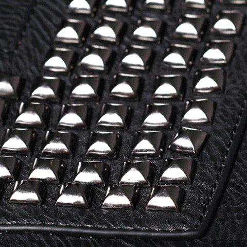 Chic Stylish Rivets and Black Design Men's Clutch Bag - BLACK  Mobile