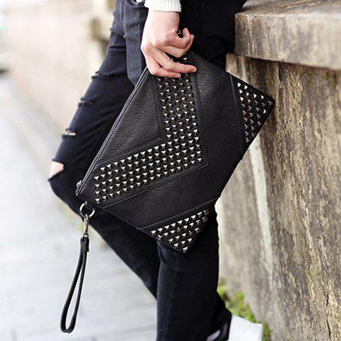 Latest Stylish Rivets and Black Design Men's Clutch Bag - BLACK  Mobile