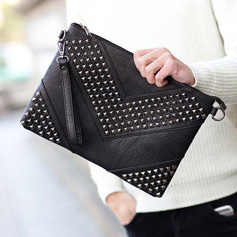 Affordable Stylish Rivets and Black Design Men's Clutch Bag - BLACK  Mobile