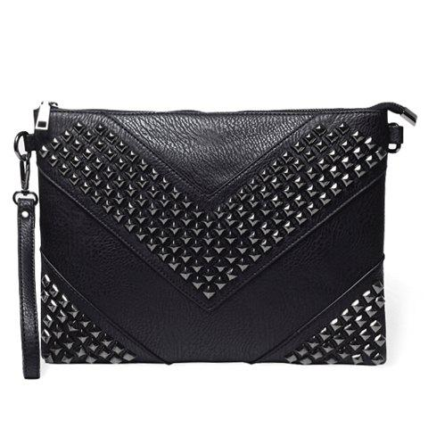 Outfit Stylish Rivets and Black Design Men's Clutch Bag - BLACK  Mobile