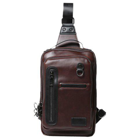 Fashionable PU Leather and Solid Colour Design Men's Chest Bag - COFFEE