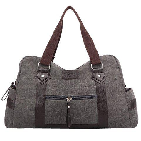 Shops Leisure Zipper and Canvas Design Men's Messenger Bag GRAY
