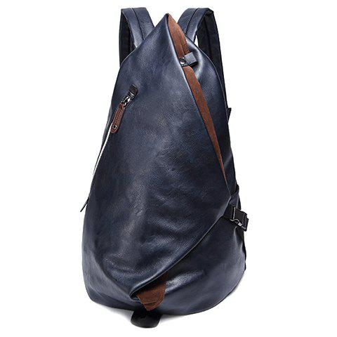 Trendy Leisure PU Leather and Zipper Design Men's Backpack -   Mobile