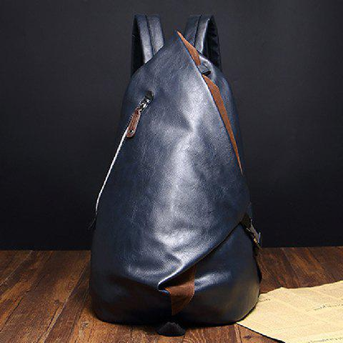 Buy Leisure PU Leather and Zipper Design Men's Backpack -   Mobile