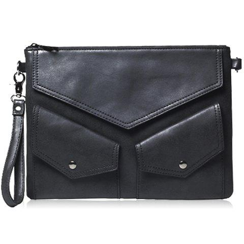 Outfits Stylish Black and PU Leather Design Men's Clutch Bag