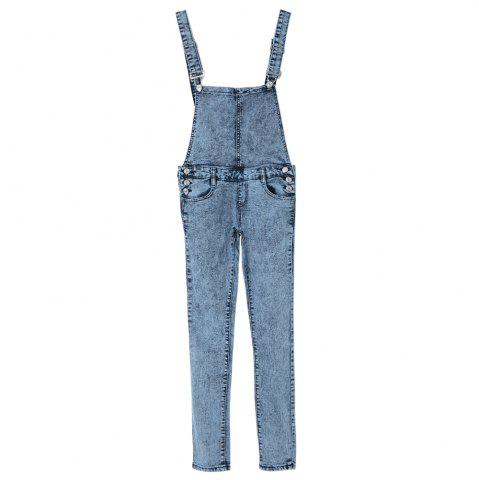 Buy Stylish Criss-Cross Bleach Wash Denim Overalls For Women