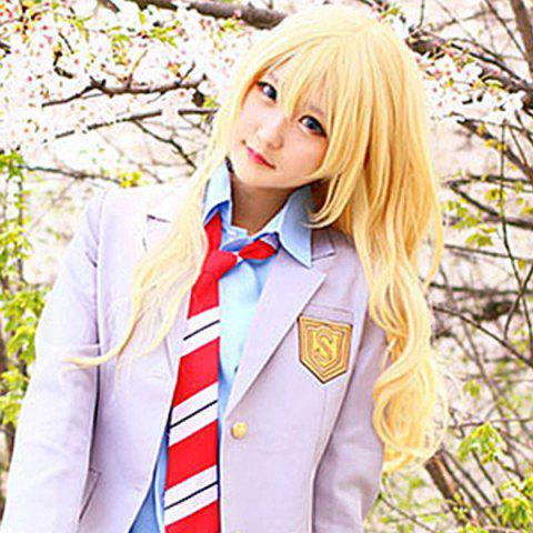 Chic Charming Gloden Long Fluffy Wavy Synthetic Vogue Side Bang Miyazono Kaori Cosplay Wig - GOLDEN  Mobile