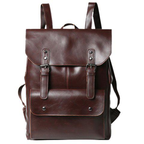Hot Retro PU Leather and Two Buckles Design Men's Backpack