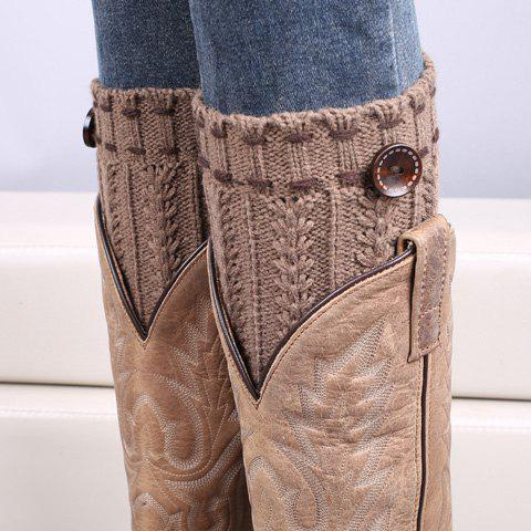 Store Pair of Chic Strappy and Button Embellished Knitted Boot Cuffs For Women KHAKI