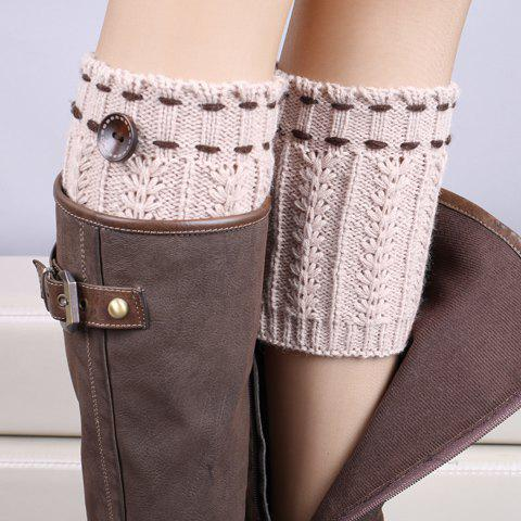 Unique Pair of Chic Strappy and Button Embellished Knitted Boot Cuffs For Women LIGHT KHAKI