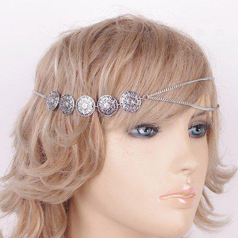 Vintage Carving Floral Pattern Round Hairband For Women - SILVER