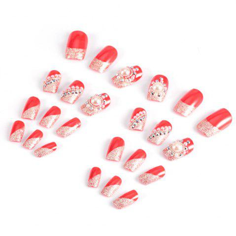 Outfit Trendy Pearl Flicker Acrylic Elegant Crystal Bride Wedding Artificial Nail - RED  Mobile
