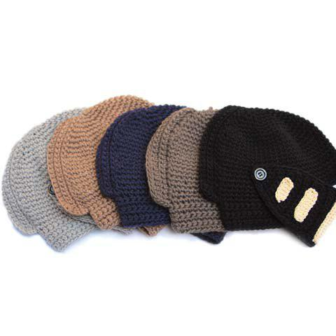 New Stylish Stripy and Button Embellished Knight Knitted Hat For Men - RANDOM COLOR  Mobile