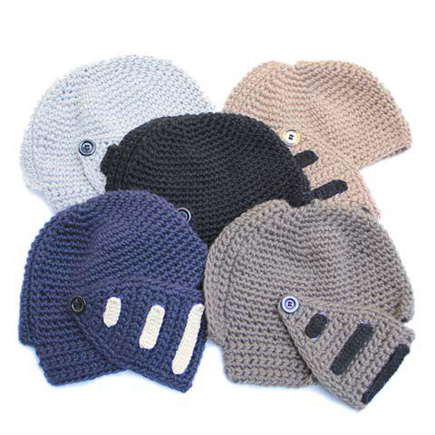 Outfit Stylish Stripy and Button Embellished Knight Knitted Hat For Men - RANDOM COLOR  Mobile