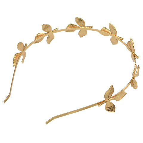 Affordable Fresh Style Solid Color Leaf Hairband For Women - GOLDEN  Mobile