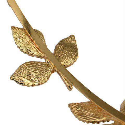 Fancy Fresh Style Solid Color Leaf Hairband For Women - GOLDEN  Mobile