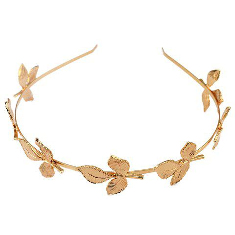 Discount Fresh Style Solid Color Leaf Hairband For Women GOLDEN