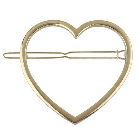 Fashion Simple Style Solid Color Heart Hairgrip For Women GOLDEN