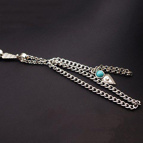 Vintage Exaggerated Faux Turquoise Layered Bracelet For Women - Silver