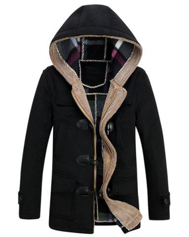 New PU Leather Spliced Stereo Pocket Horn Button Hooded Long Sleeves Men's Cashmere Blend Coat