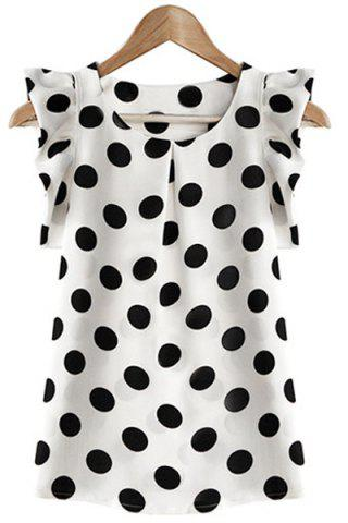 Latest Flounce Cuffs Polka Dot Scoop Neck Blouse For Women