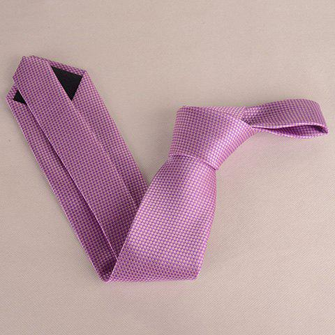 Online Stylish Small Latticed Jacquard 8CM Width Light Purple Tie For Men - LIGHT PURPLE  Mobile