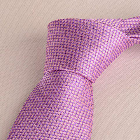 Latest Stylish Small Latticed Jacquard 8CM Width Light Purple Tie For Men - LIGHT PURPLE  Mobile