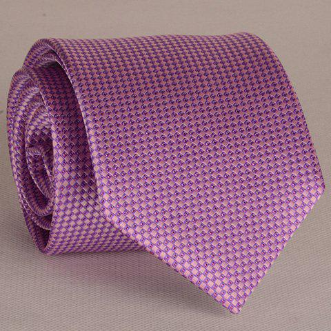 Hot Stylish Small Latticed Jacquard 8CM Width Light Purple Tie For Men