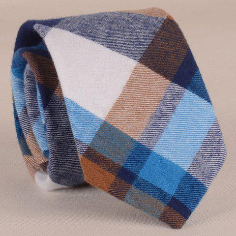 Hot Stylish Various Color Matching Plaid Pattern 7.5CM Width Tie For Men - BLUE  Mobile