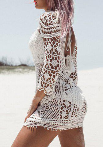 Buy Crochet Sheer Beach Cover Up Dress - ONE SIZE(FIT SIZE XS TO M) WHITE Mobile