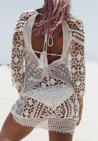 New Crochet Sheer Beach Cover Up Dress - ONE SIZE(FIT SIZE XS TO M) WHITE Mobile