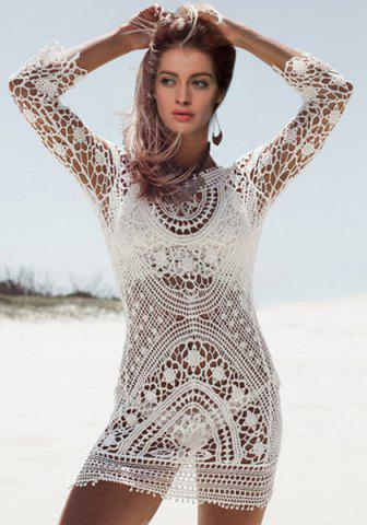 Store Crochet Sheer Beach Cover Up Dress - ONE SIZE(FIT SIZE XS TO M) WHITE Mobile