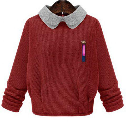 Outfit Sweet Peter Pan Collar Monkey Brooch Design Pullover Sweater For Women
