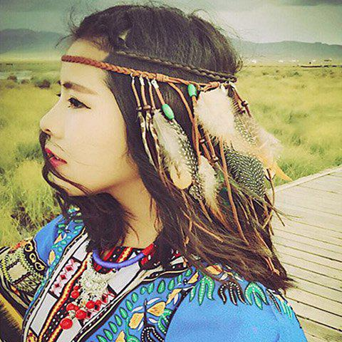 Fancy Bohemian Style Woven Rope Feather Hairband For Women