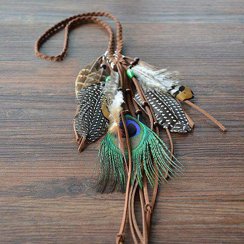 Hot Bohemian Style Woven Rope Feather Hairband For Women - ORANGE  Mobile