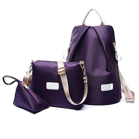 Fancy Simple Solid Color and Zippers Design Women's Satchel - PURPLE  Mobile