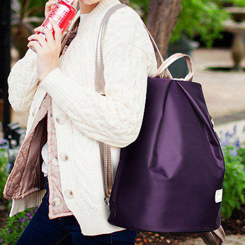 Buy Simple Solid Color and Zippers Design Women's Satchel - PURPLE  Mobile