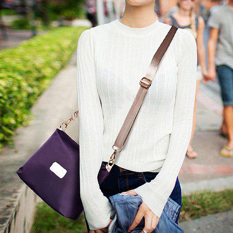 Hot Simple Solid Color and Zippers Design Women's Satchel - PURPLE  Mobile