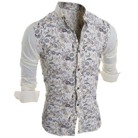 Trendy Turn-Down Collar Color Block Splicing Floral Print Long Sleeve Men's Shirt
