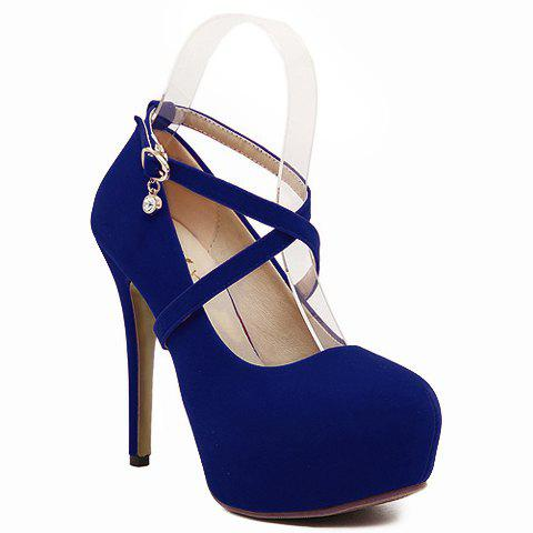 Buy Fashionable Flock and Cross-Strap Design Women's Pumps BLUE 39