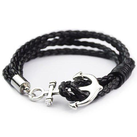 Store Anchor Faux Leather Layered Bracelet BLACK