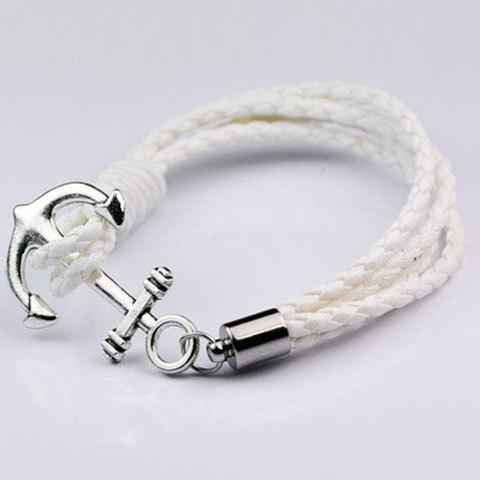 Anchor Faux Leather Layered Bracelet - White - S