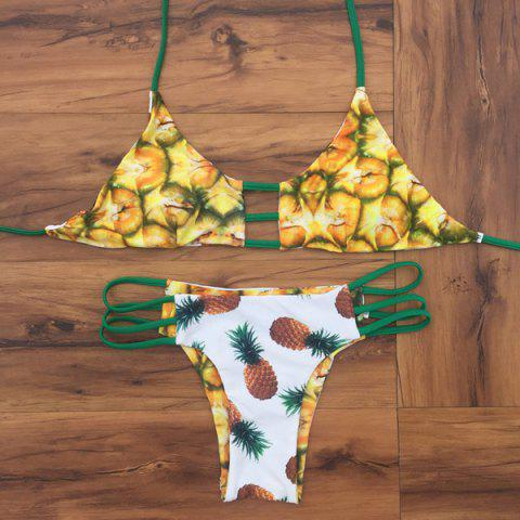 Cheap Halter Reversible Pineapple Print Bikini Set