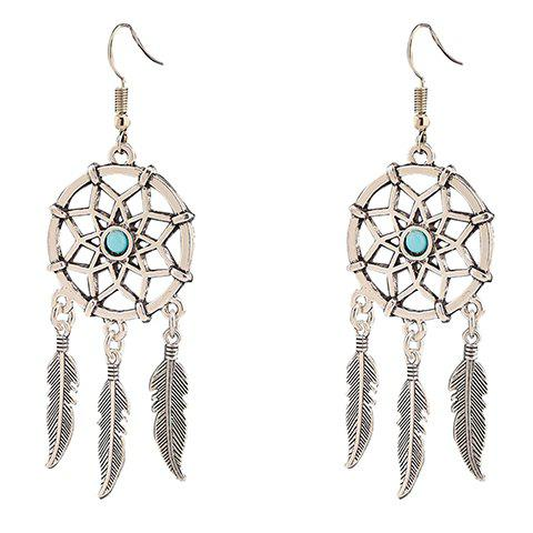 Trendy Pair of Fashionable Hollow Out Feather Tassel Earrings For Women SILVER
