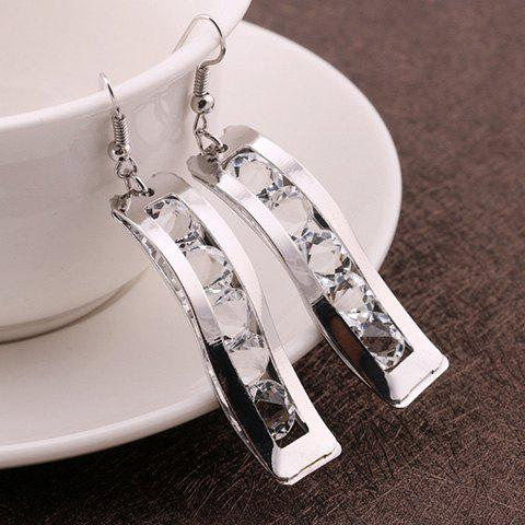 Fashion Fake Crystal Hollow Out Drop Earrings - SILVER  Mobile